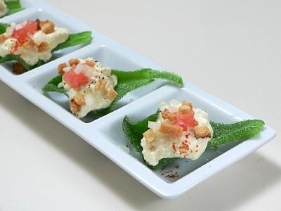 プッチーナのカナッペ風豆腐チーズソースサラダ
